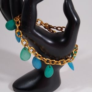 Bracelet Gold Blue Green Teardrop Dangle Charms